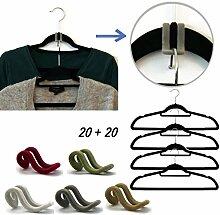 Bada Bing 40 tlg. Sparset Kleiderbügel + Kleiderhaken Aufhänger Samt Platzsparend Rutschfest Bügel Haken Platzwunder 051 / 077