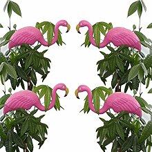 Bada Bing 4er Set Teichfigur Flamingo pink 67 cm Steckfigur Garten Gartendeko Sommer Trend