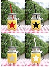 Bada Bing 4er Set Trinkglas 4 Farbiger Stern,