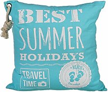 Bada Bing Kissen Beach Summer Ca. 40 x 40 Cm mit Kordel türkis blau weiß (1 x Summer)