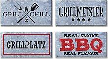 Bada Bing Metallschild BBQ Grillmaster Grillplatz Wandbild Wanddeko Barbeque