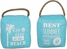 Bada Bing Türstopper Maritim Beach Seil türkis blau Landhaus + Low Fat Fibel