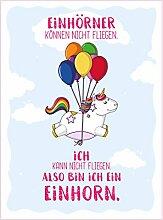 Bada Bing Wandbild Einhorn Fliegen Luftballon