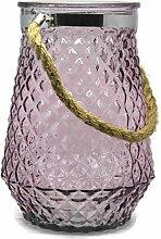 Bada Bing XL Windlicht Rhomb Glas Rosa Kordel
