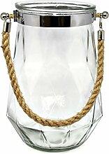 Bada Bing XXL Windlicht Rhomb Glas mit Kordel