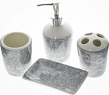 Badaccessoires Set aus Keramik, 4 Stück,