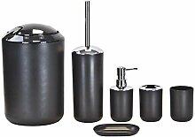 Badaccessoires-Set aus Kunststoff - 6-tlg - Schwarz