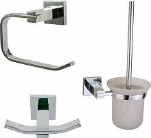Badaccessoires Set Bürstengarnitur + Rollenhalter + Haken