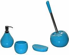 Badaccessoires Set COPPA Keramik rund - WC-Bürstengarnitur Seifenspender Seifenablage Becher, Farbe:aquarius