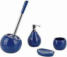 Badaccessoires Set COPPA Keramik rund - WC-Bürstengarnitur Seifenspender Seifenablage Becher, Farbe:tinten-blau