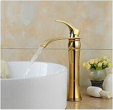 Badarmatur Farbe Gold, mit gebogenem Auslauf,