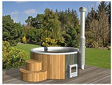 Badebottich 200cm mit weißem Fiberglas Einsatz fertig montiert, mit Außenofen - Badefass Badefässer Badetonnen