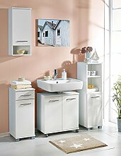 Badeinrichtung, Badezimmereinrichtung, Badmöbel, Komplettset, Badezimmerausstattung, weiß, modern, 4-teilig
