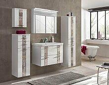 Badeinrichtung, Badezimmereinrichtung, Badmöbel, Komplettset, Badezimmer, modern, Hochglanz, weiß, Spiegelschrank, Waschtisch, Badezimmerausstattung