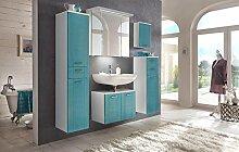Badeinrichtung, Badezimmereinrichtung, Badmöbel, Komplettset, Badezimmer, Kiefer, blau, weiß, Hochglanz, Spiegelschrank, Badezimmerausstattung