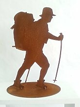 Badeko Bergsteiger, Figur Wanderer, Dekofigur Gartendeko Rost, H ca. 25 cm