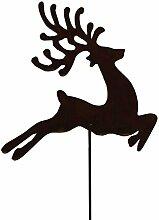 Badeko Gartenstab Gartenstecker Hirsch aus Metall Ros