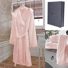 Bademantel LUNA + Handtuch + Badetuch + box S Pink