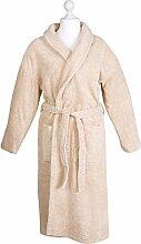 Bademantel Morgenmantel Saunamantel flauschig warm elegant Wellness Sauna S-XL - 100% Baumwolle Frottee SHAWL COLLAR BATHROBE, Farbe:Beige, Größe:XL