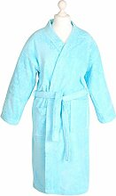 Bademantel Morgenmantel Saunamantel Kimono flauschig warm elegant Wellness Sauna S-XL in 7 Farben - 100% Baumwolle Frottee Kimono Bathrobe, Farbe:türkis, Größe:L