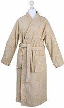 Bademantel Morgenmantel Saunamantel Kimono flauschig warm elegant Wellness Sauna S-XL in 7 Farben - 100% Baumwolle Frottee Kimono Bathrobe, Farbe:Beige, Größe:L