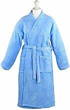 Bademantel Morgenmantel Saunamantel Kimono flauschig warm elegant Wellness Sauna S-XL in 7 Farben - 100% Baumwolle Frottee Kimono Bathrobe, Farbe:Blau, Größe:M