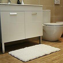 Badematte Badezimmer teppich Rutschfester Duschvorleger Badevorleger Teppich L?ufer Bettvorleger 50x80 cm weiß