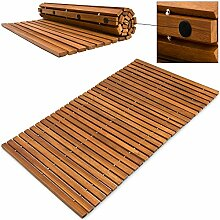 Badematte Badmatte Badvorleger Holzmatte ✔ FSC®-zertifiziertes Akazienholz ✔ rutschhemmende Gummistopper ✔ 80 cm x 50 cm