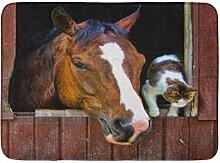 Badematte Bauernhof Pferd Katze Scheune Stall
