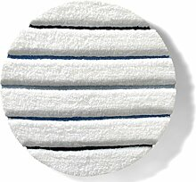 Badematte BELLA | aus flauschigem Hochflor | zum Set kombinierbar | weiß | mit blauem Relief | 5 Größen ( rund | 100 cm)