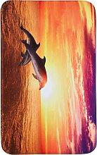 Badematte Delfin, Memory Schaum, orange (Vorleger für Hänge-WC 45/50 cm)