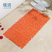 Badematte dusche Massagekissen solide Anti-Rutsch-Matten, 36cmx71cm Orange