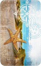 Badematte Kompass, Memory Schaum, blau (Vorleger