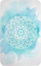 Badematte Mandala, Memory Schaum, blau (Vorleger