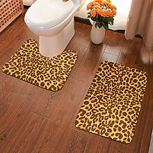 Badematte mit Leopardenmuster und Hauthintergrund,