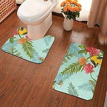 Badematte mit tropischen Pflanzen und bunten