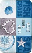 Badematte Muschel, Memory Schaum, blau (Vorleger für Stand-WC 45/50 cm)