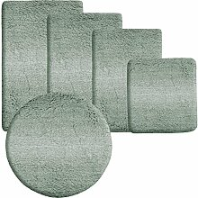Badematte Ombre grün | Hochflor Badteppiche zum Set kombinierbar | verschiedene Größen von der Duschmatte bis zur Wannenvorlage (60x100cm)