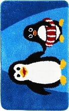 Badematte Pinguin, blau (Vorleger für Hänge-WC 45/50 cm)