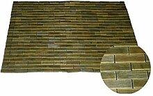Badematte Saunamatte Holz Badteppich Bambus Holzmatte Badvorleger Teak 50 x 70 cm grünbraun