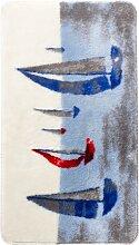 Badematte Segelschiff, blau (Vorleger für Hänge-WC 45/50 cm)