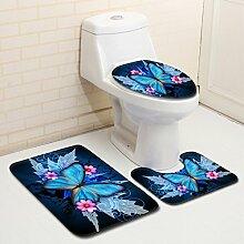Badematte Set 3 Teilig Flanell, Toilettenmatte