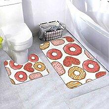 Badematte Set Muster Donuts Kekse 2-teiliges