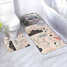 Badematte Set Muster Papier Flugzeuge Wolken Hand