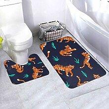 Badematte Set Muster Tiger Verschiedene Posen