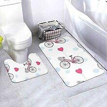Badematte Set Muster Valentinstag Retro Fahrrad 2