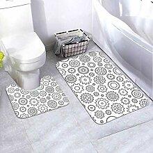 Badematte Set Muster Zahnräder Schwarz Weiß