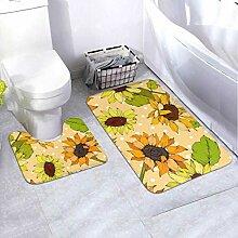 Badematte Set Vektor Sonnenblume Blumen Botanische