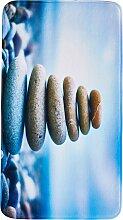 Badematte Steine, Memory Schaum, blau (Vorleger für Stand-WC 45/50 cm)