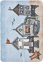 Badematte Strandhaus, blau (Vorleger für Hänge-WC 45/50 cm)